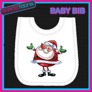 SANTA CLAUS FATHER CHRISTMAS WHITE BABY BIB PRINTED DESIGN